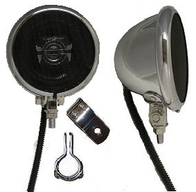 Unplugged Chrome Motorcycle Speakers