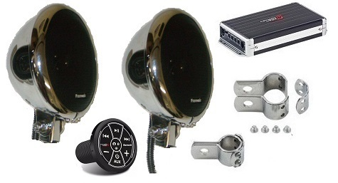 Platinum Amplified Motorcycle Tunes Speaker System ` 5.25 Inch Chrome Speakers